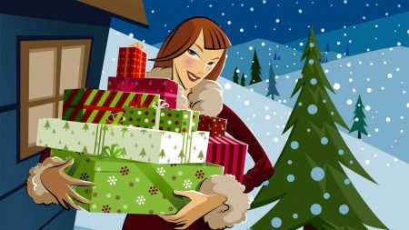 girl, gifts, snow