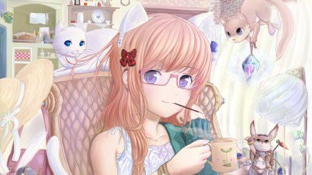 girl, glasses, chair