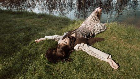 girl, grass, pond