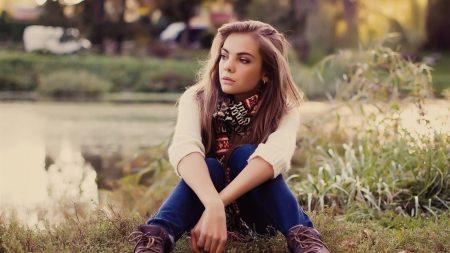 girl, grass, sit