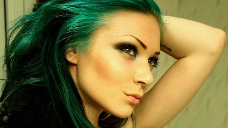 girl, green hair, piercing