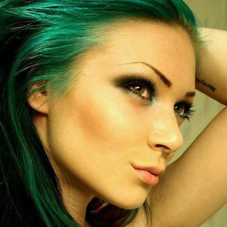 girl, green hair, piercing