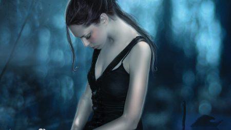 girl, grief, black angel