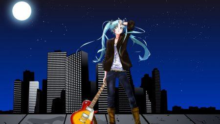 girl, guitar, night