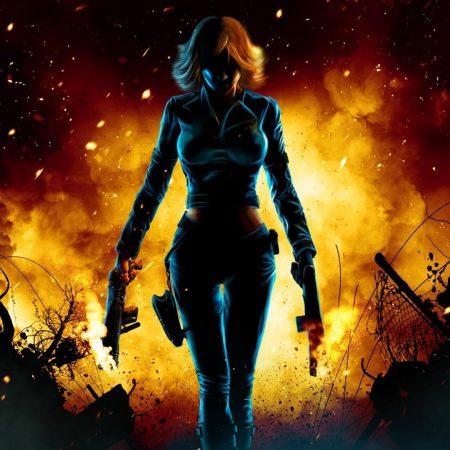 girl, guns, fire