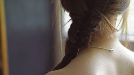 girl, hair, chain