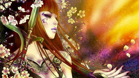 girl, hair, flowers