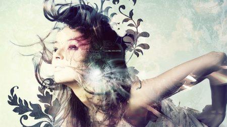 girl, hair, light