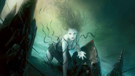girl, hair, water