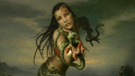 girl, hand, snakes