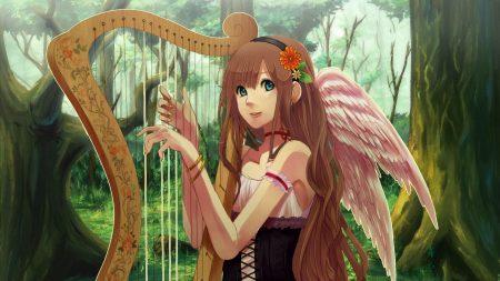 girl, harp, wings