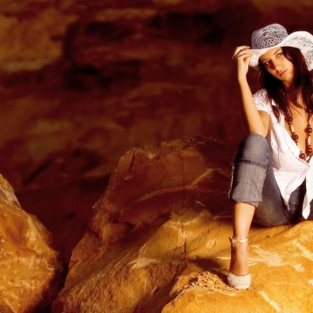 girl, hat, cave