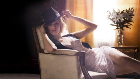 girl, hat, dress