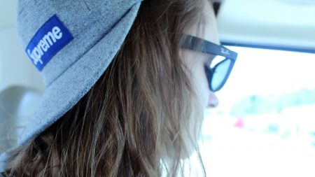 girl, hat, glasses