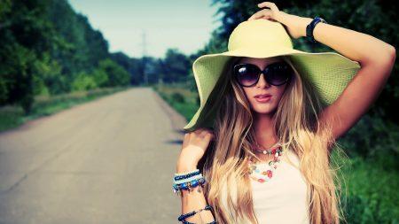 girl, hat, summer