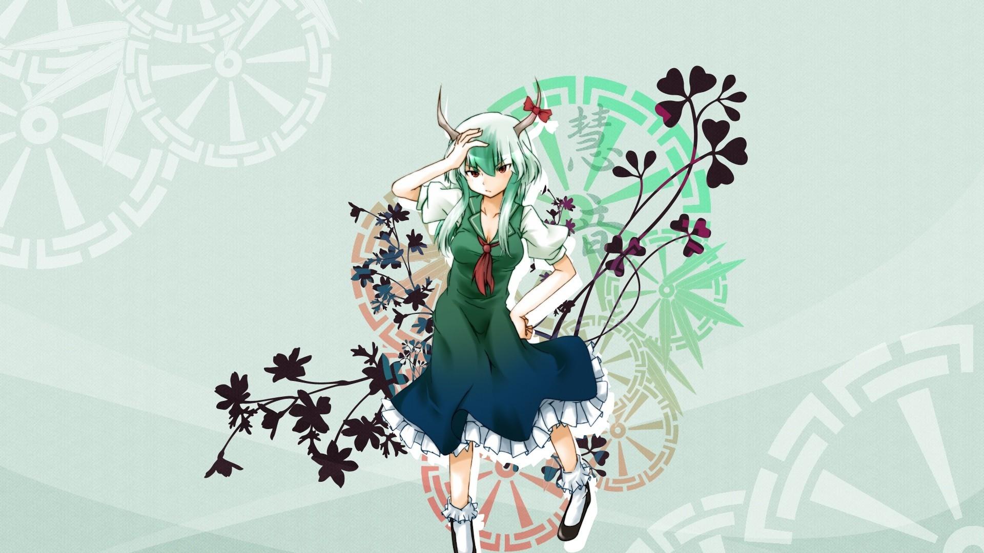 girl, horn, plant