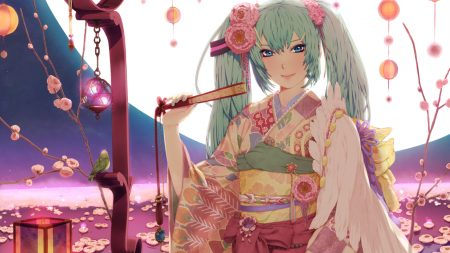 girl, kimono, fan