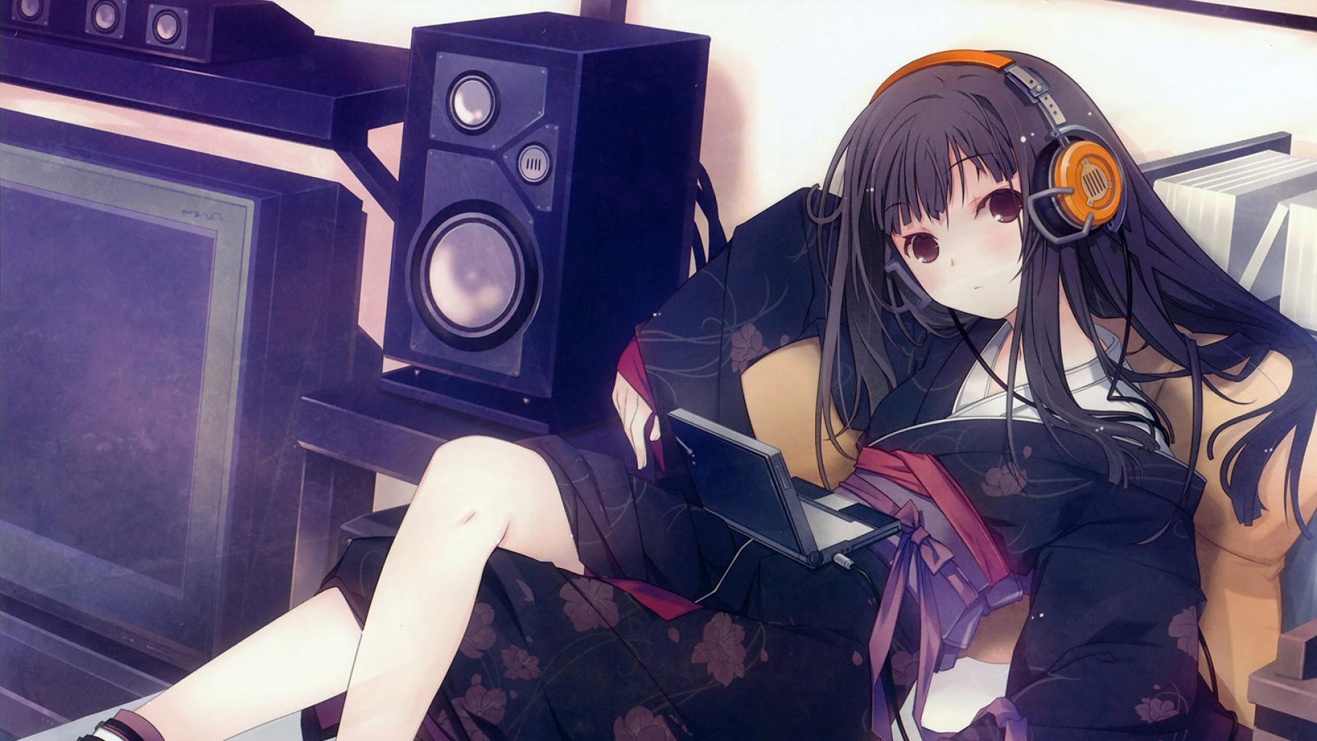 girl, kimono, headphones