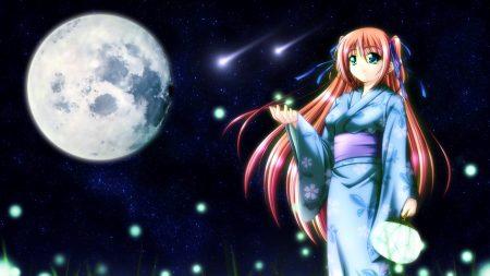 girl, kimono, smiling