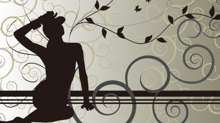 girl, leaves, pattern