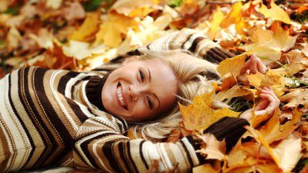 girl, leaves, smile
