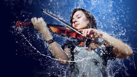 girl, man, violin