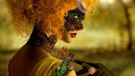 girl, mask, masquerade