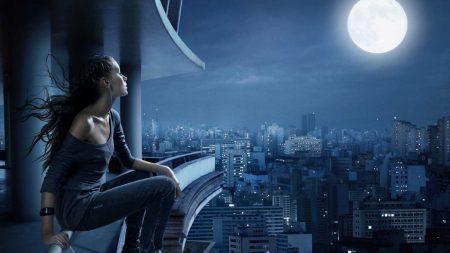 girl, moon, night