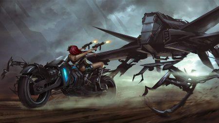 girl, motorcycle, guns