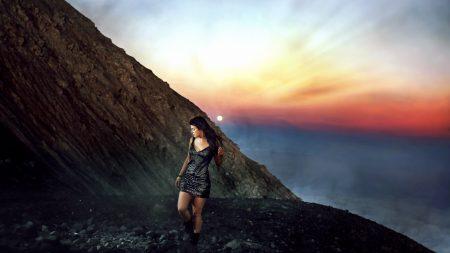 girl, mountains, walk
