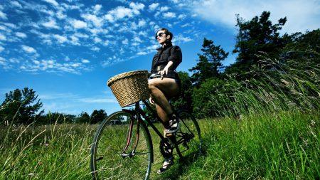 girl, nature, bicycle