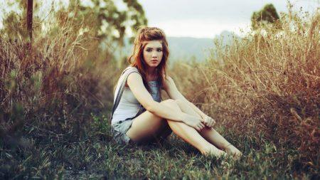 girl, nature, sitting