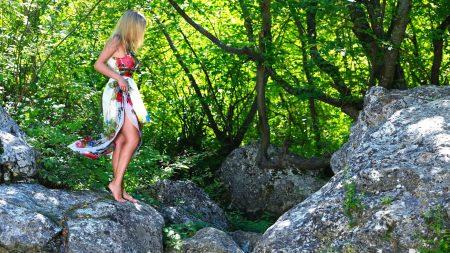 girl, nature, stones