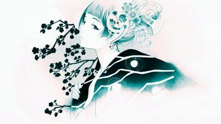 girl, oriental, flowers