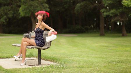 girl, park, bench