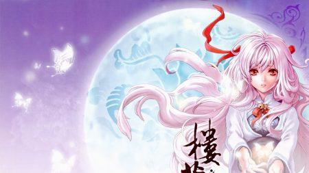 girl, pink hair, moon