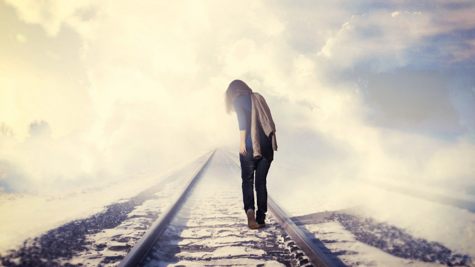 Earnings Disclaimer >> Download Wallpaper 1920x1080 girl, railway, mood, autumn, depression Full HD 1080p HD Background