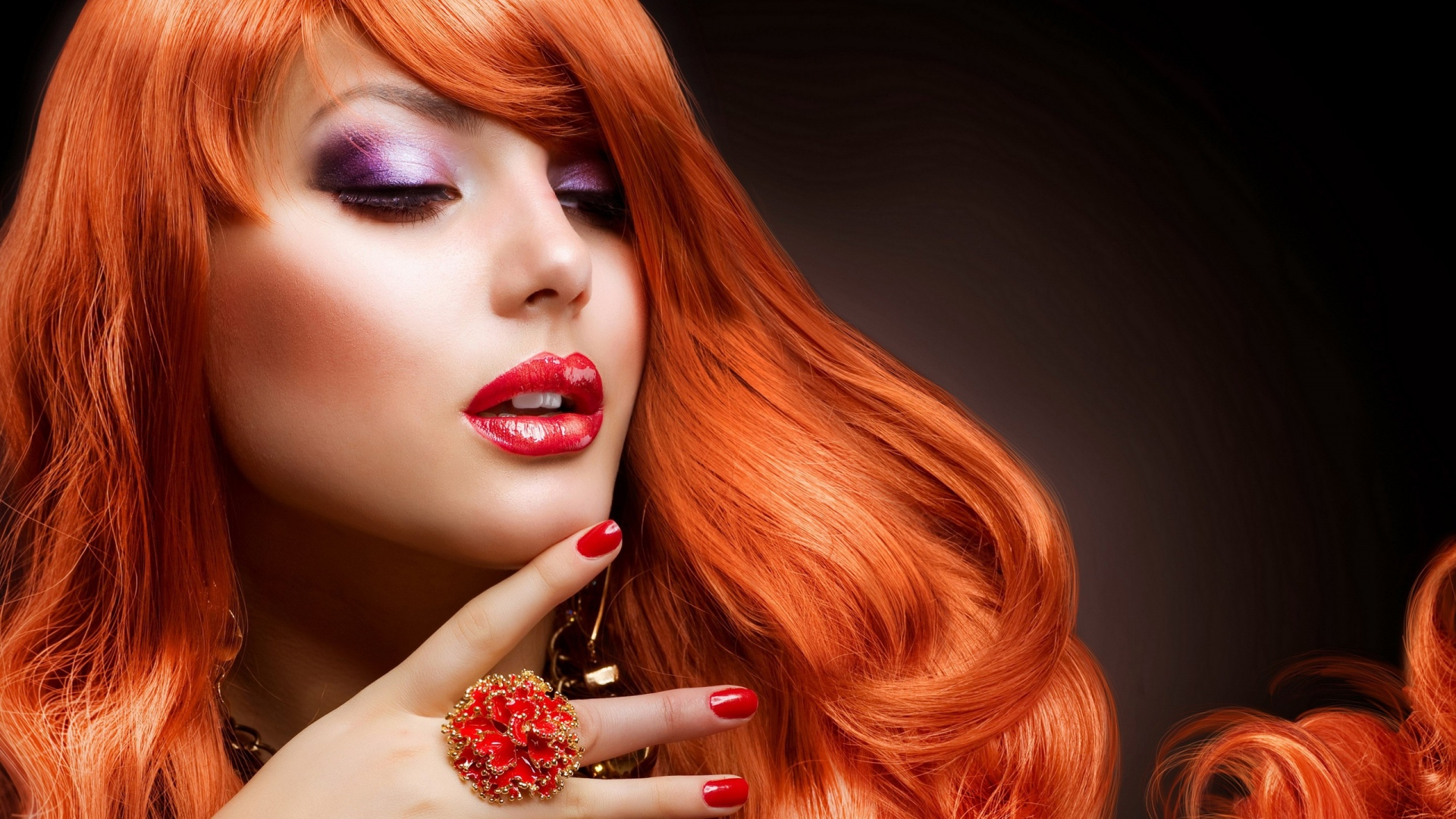 Download Wallpaper 1920x1080 Girl Red Hair Makeup Manicure Face Full Hd 1080p Hd Background