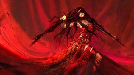 girl, red, hands