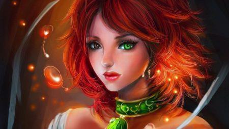 girl, red, pendant