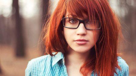 girl, redhead, glasses