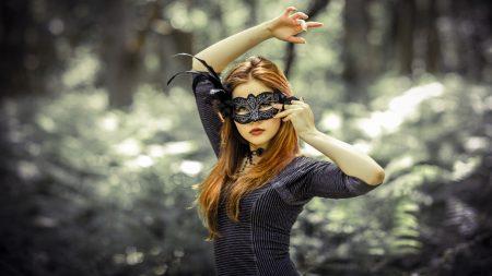 girl, redhead, leaves