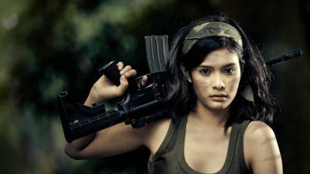 girl, rifle, gun