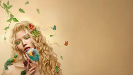 girl, ringlets, butterflies