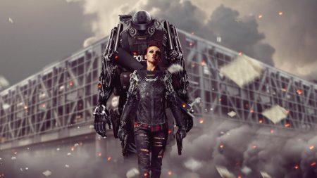girl, robot, police