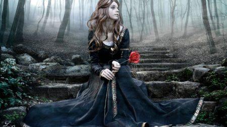 girl, rose, steps