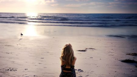 girl, sand, beach