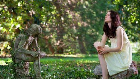 girl, sculpture, grass