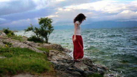 girl, sea, grass