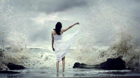 girl, sea, surf